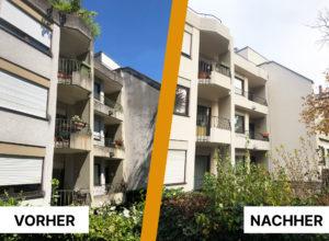 Fassadenarbeiten, davor und danach